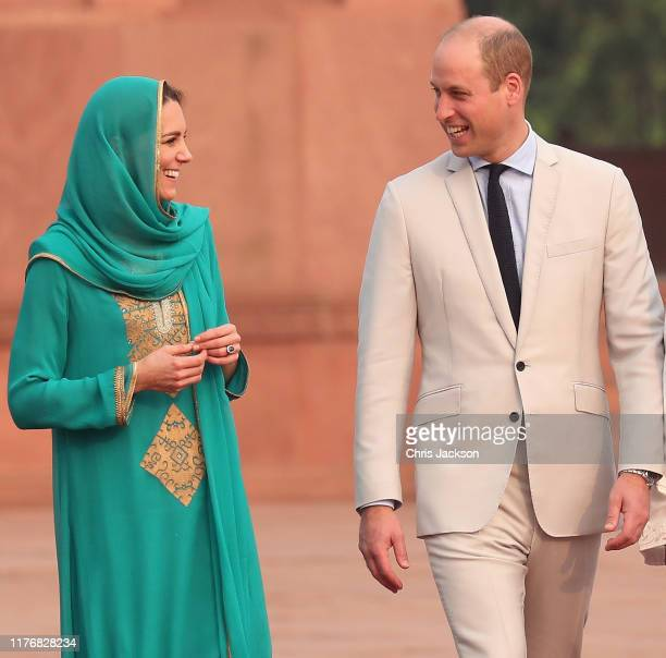 Prince William Duke of Cambridge and Catherine Duchess of Cambridge arrives at the Badshahi Mosque within the Walled City during day four of their...