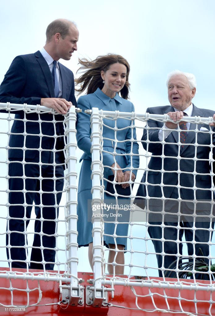 The Duke & Duchess Of Cambridge Attend The Naming Ceremony For The RSS Sir David Attenborough : News Photo