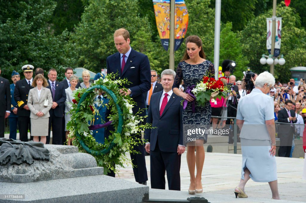 Prince William, Duke of Cambridge and Catherine, Duchess of Cambridge lays a wreath at the tomb of the Unknown Soldier as they visit the National War Memorial on June 30, 2011 in Ottawa, Canada. The newly married Royal Couple have arrived in Canada today for their first joint overseas tour. Ottawa is the start of a 12-day visit to North America which will take in some of the more remote areas of the country such as Prince Edward Island, Yellowknife and Calgary. The Royal couple will also join millions of Canadians to take part in tomorrow's Canada Day celebrations which mark Canada's 144th Birthday.