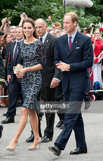 Prince William Duke of Cambridge and Catherine Duchess of Cambridge attend an official welcoming ceremony at Rideau Hall on day 1 on the Royal...