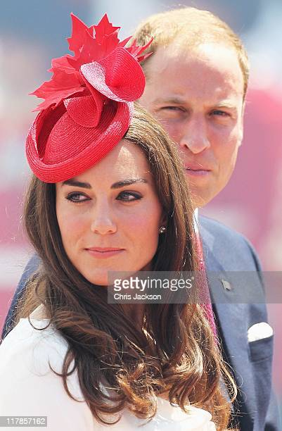 Prince William Duke of Cambridge and Catherine Duchess of Cambridge arrive at Parliament Hill for Canada Day Celebrations on July 1 2011 in Ottawa...