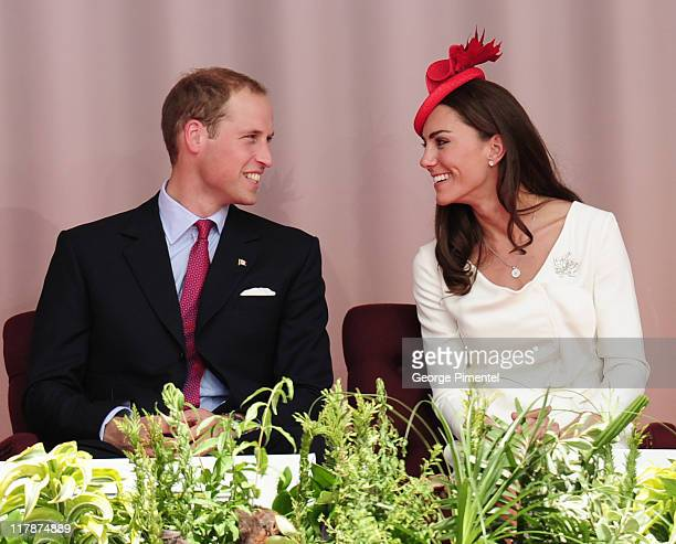 Prince William Duke of Cambridge and Catherine Duchess of Cambridge arrive at Parliament Hill for Canada Day Noon Show Celebrations on July 1 2011 in...