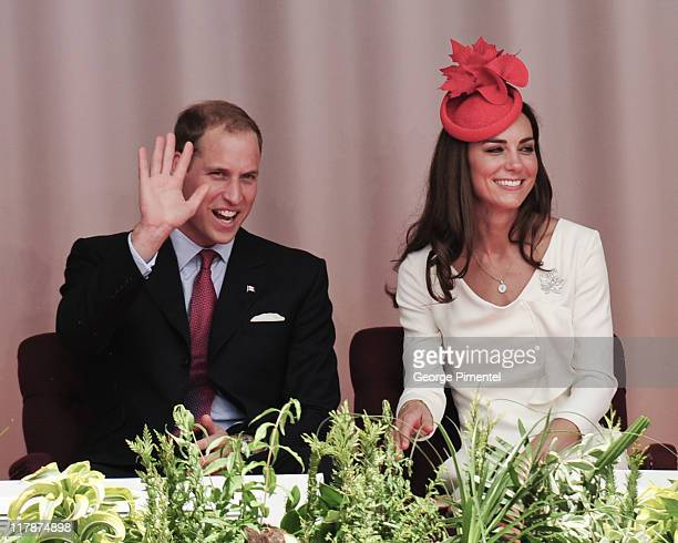 Prince William, Duke of Cambridge and Catherine, Duchess of Cambridge arrive at Parliament Hill for Canada Day Noon Show Celebrations on July 1, 2011...