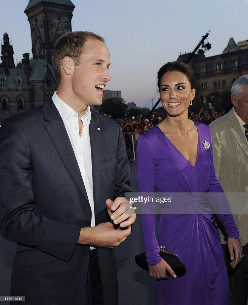 Prince William, Duke of Cambridge and Catherine, Duchess of Cambridge arrive for the Evening National Canada Day Celebrations in the capital accompanied by representatives of the National Capitol Commission on July 1, 2011 in Ottawa, Canada.