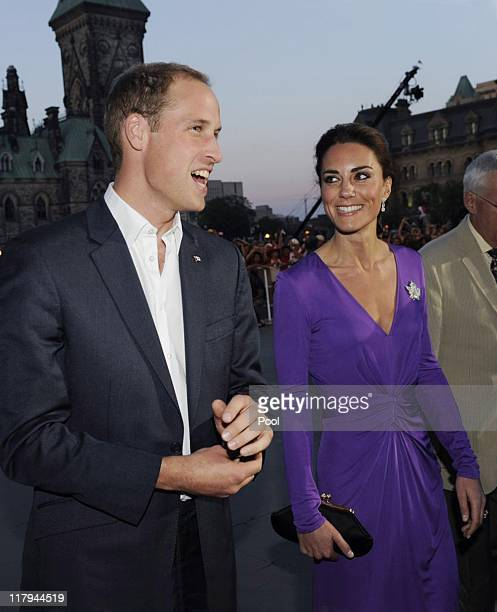 Prince William Duke of Cambridge and Catherine Duchess of Cambridge arrive for the Evening National Canada Day Celebrations in the capital...