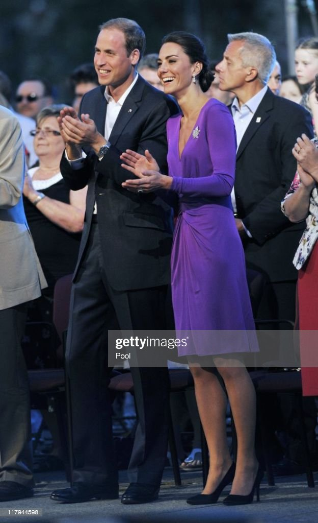 Prince William, Duke of Cambridge and Catherine, Duchess of Cambridge attend the Evening National Canada Day Celebrations accompanied by representatives of the National Capitol Commission on Parliament Hill on July 1, 2011 in Ottawa, Canada.