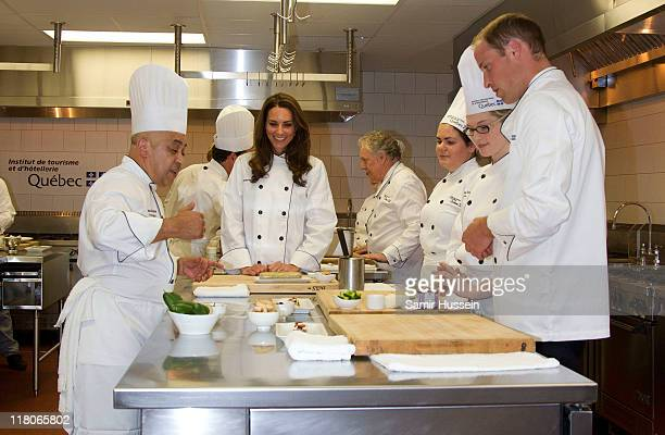 Prince William, Duke of Cambridge and Catherine, Duchess of Cambridge attend a cooking workshop and reception at the Institut De Tourisme et...