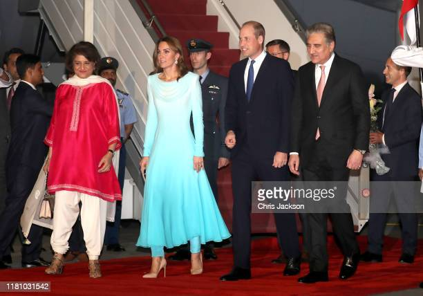 Prince William Duke of Cambridge and Catherine Duchess of Cambridge arrive at Kur Khan airbase ahead of their royal tour of Pakistan on October 14...