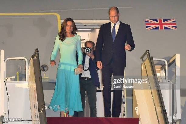 Prince William Duke of Cambridge and Catherine Duchess of Cambridge arrive at Pakistani Air Force Base Nur Khan on October 14 2019 in Rawalpindi...