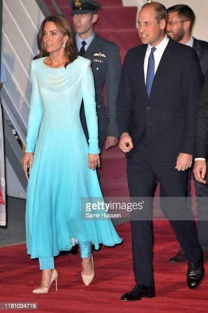 Prince William, Duke of Cambridge and Catherine, Duchess of Cambridge arrive at Pakistani Air Force Base Nur Khan on October 14, 2019 in Rawalpindi,...