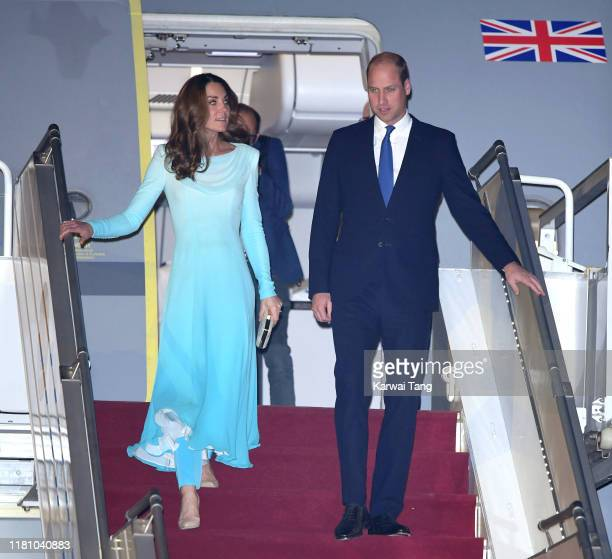 Prince William, Duke of Cambridge and Catherine, Duchess of Cambridge arrive at the Pakistani Air Force Base Nur Khan to start their Royal Tour of...