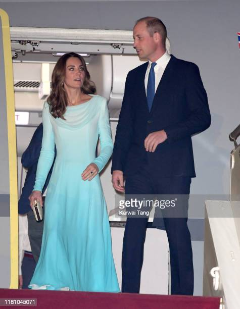 Prince William Duke of Cambridge and Catherine Duchess of Cambridge arrive at the Pakistani Air Force Base Nur Khan to start their Royal Tour of...