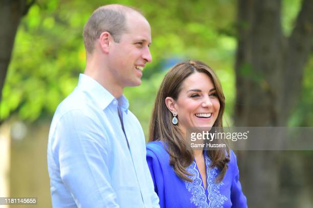 Prince William, Duke of Cambridge and Catherine, Duchess of Cambridge arrive for a visit to Margalla Hills to join children from local schools and...