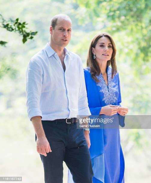 Prince William Duke of Cambridge and Catherine Duchess of Cambridge visit the Margalla Hills National Park which sit in the foothills of the...