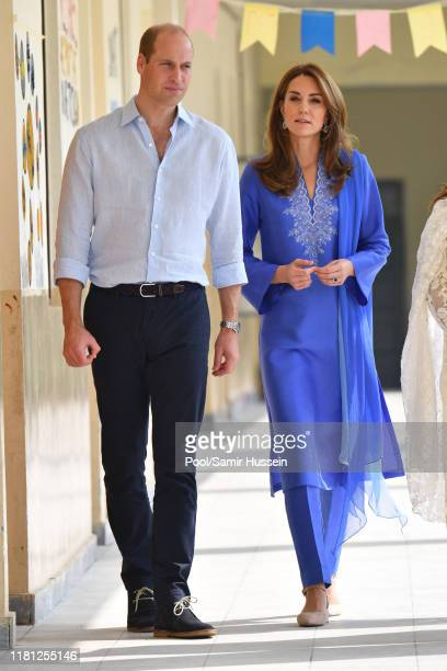 Prince William, Duke of Cambridge and Catherine, Duchess of Cambridge visit a school in Islamabad on October 15, 2019 in Islamabad, Pakistan.
