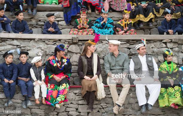 Prince William Duke of Cambridge and Catherine Duchess of Cambridge visit a settlement of the Kalash people to learn more about their culture and...