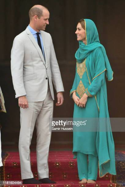 Prince William, Duke of Cambridge and Catherine, Duchess of Cambridge arrive for a Interfaith Meeting at Badshahi Mosque on October 17, 2019 in...