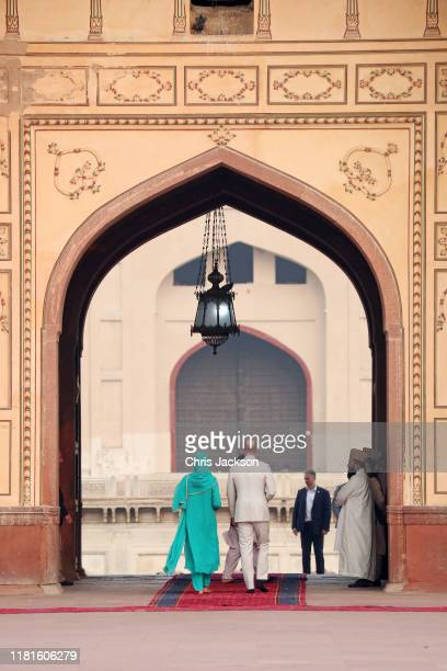Prince William Duke of Cambridge and Catherine Duchess of Cambridge visit the Badshahi Mosque within the Walled City during day four of their royal...