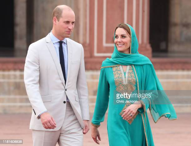 Prince William, Duke of Cambridge and Catherine, Duchess of Cambridge visit the Badshahi Mosque within the Walled City during day four of their royal...