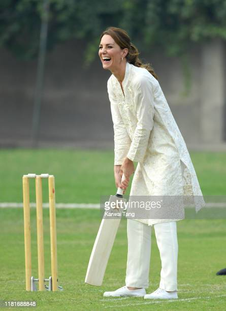 Prince William Duke of Cambridge and Catherine Duchess of Cambridge visit the National Cricket Academy in Lahore on October 17 2019 in Lahore Pakistan