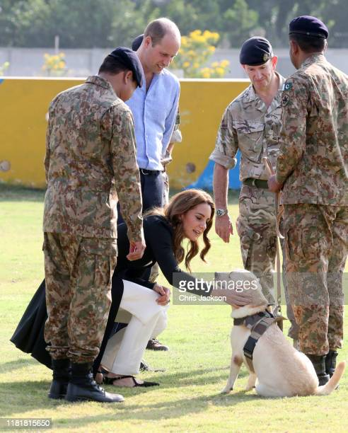 Prince William Duke of Cambridge and Catherine Duchess of Cambridge as they visit an Army Canine Centre where the UK provides support to a programme...