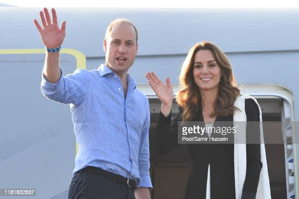 Prince William, Duke of Cambridge and Catherine, Duchess of Cambridge depart Islamabad during day five of their royal tour of Pakistan on October 18,...