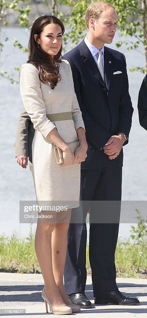 Prince William, Duke of Cambridge and Catherine, Duchess of Cambridge look on during an official welcome ceremony at the Somba K'e Civic Plaza on July 5, 2011 in Yellowknife, Canada. The newly married Royal Couple are on the sixth day of their first joint overseas tour. The 12 day visit to North America is taking in some of the more remote areas of the country such as Prince Edward Island, Yellowknife and Calgary. The Royal couple started off their tour by joining millions of Canadians in taking part in Canada Day celebrations which mark Canada's 144th Birthday.