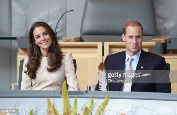 Prince William Duke of Cambridge and Catherine Duchess of Cambridge attend a session of Youth Parliament at the Legislative Assembly on July 5 2011...