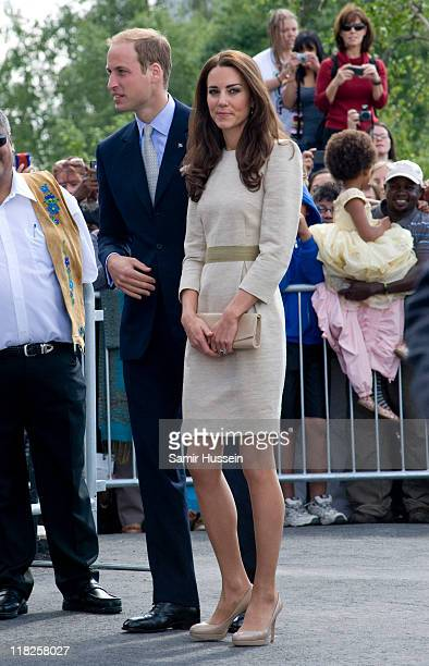 Prince William Duke of Cambridge and Catherine Duchess of Cambridge visit the Somba K'e Civic Plaza on day 6 of the Royal Couple's North American...