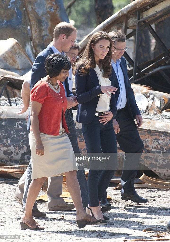 Prince William, Duke of Cambridge and Catherine, Duchess of Cambridge visit a part of town devastated by a fire in May 2011, on July 7, 2011 in Slave Lake, Alberta. The newly married Royal Couple are on the seventh day of their first joint overseas tour. The 12 day visit to North America is taking in some of the more remote areas of the country such as Prince Edward Island, Yellowknife and Calgary. The Royal couple started off their tour by joining millions of Canadians in taking part in Canada Day celebrations which mark Canada's 144th Birthday.