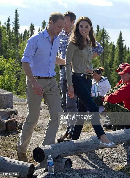 Prince William Duke of Cambridge and Catherine Duchess of Cambridge visit Blachford Lake near Yellowknife on July 5 2011 in Blatchford Lake Northwest...