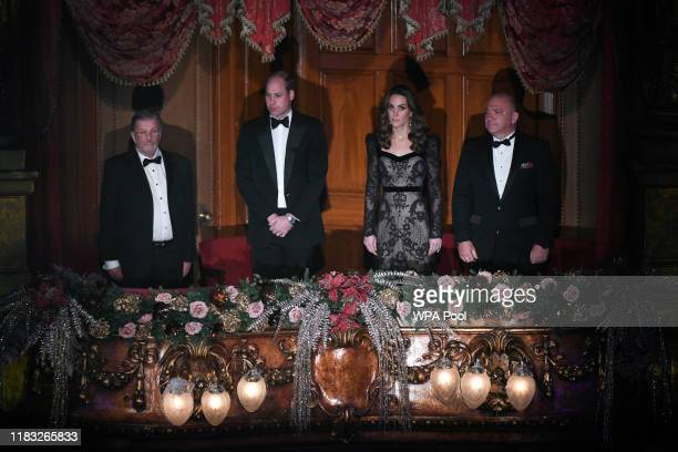 Prince William Duke of Cambridge and Catherine Duchess of Cambridge attend the Royal Variety Performance at Palladium Theatre on November 18 2019 in...