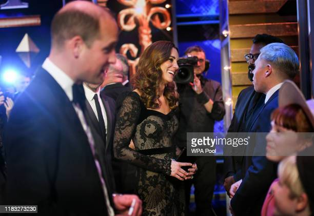 Prince William Duke of Cambridge and Catherine Duchess of Cambridge meet the cast as they attend the Royal Variety Performance at Palladium Theatre...