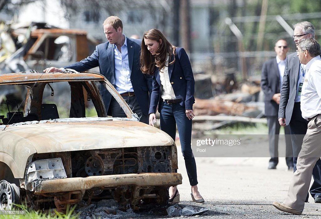 Prince William, Duke of Cambridge and Catherine, Duchess of Cambridge inspect a fire-damaged car in a part of town devastated by a fire in May 2011, on July 7, 2011 in Slave Lake, Alberta. The newly married Royal Couple are on the seventh day of their first joint overseas tour. The 12 day visit to North America is taking in some of the more remote areas of the country such as Prince Edward Island, Yellowknife and Calgary. The Royal couple started off their tour by joining millions of Canadians in taking part in Canada Day celebrations which mark Canada's 144th Birthday.