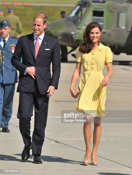 Prince William Duke of Cambridge and Catherine Duchess of Cambridge arrive at the Calgary International Airport on July 7 2011 in Calgary Canada