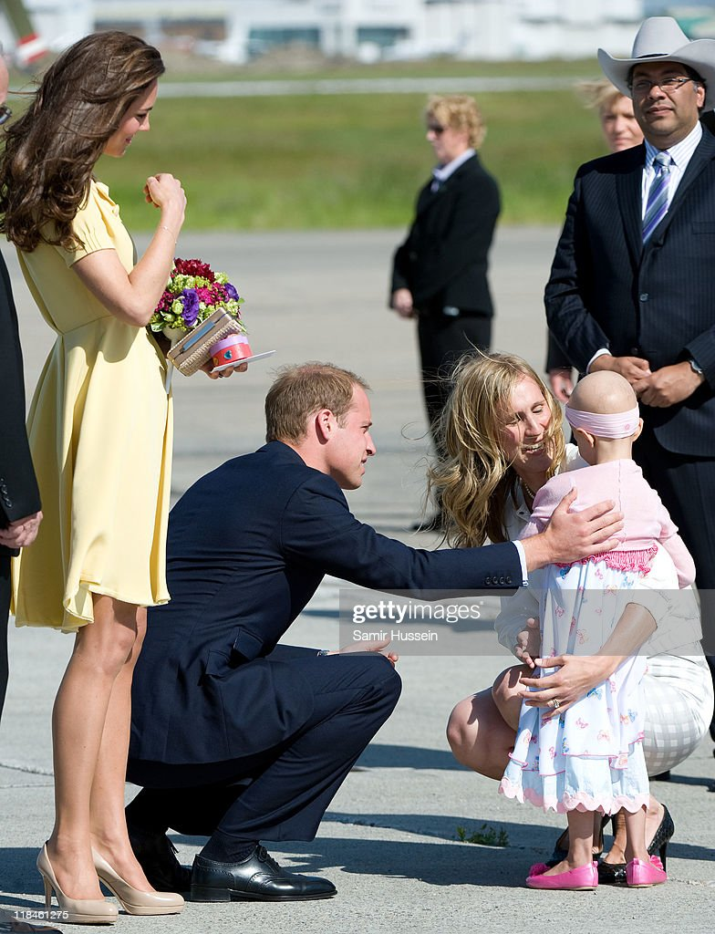 Prince William, Duke of Cambridge and Catherine, Duchess of Cambridge speak with 6 year old terminal cancer sufferer Diamond at Calgary Airport on day 8 of the Royal couple's tour of North America on July 7, 2011 in Calgary, Canada.