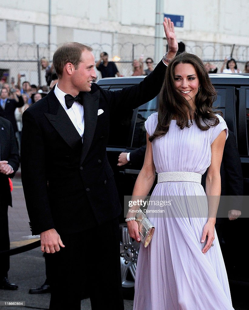 Prince William, Duke of Cambridge (L) and Catherine, Duchess of Cambridge arrive at the BAFTA Brits To Watch event held at the Belasco Theatre on July 9, 2011 in Los Angeles, California.