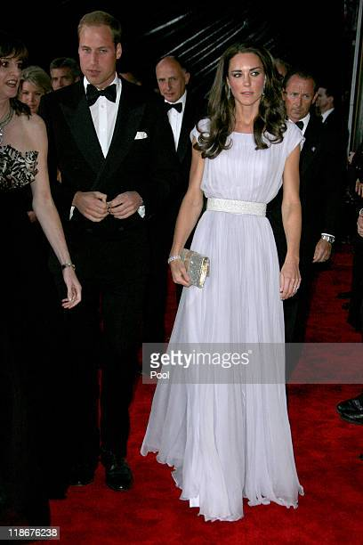 """Prince William, Duke of Cambridge and Catherine, Duchess of Cambridge arrive at the BAFTA """"Brits to Watch"""" event held at the Belasco Theatre on July..."""