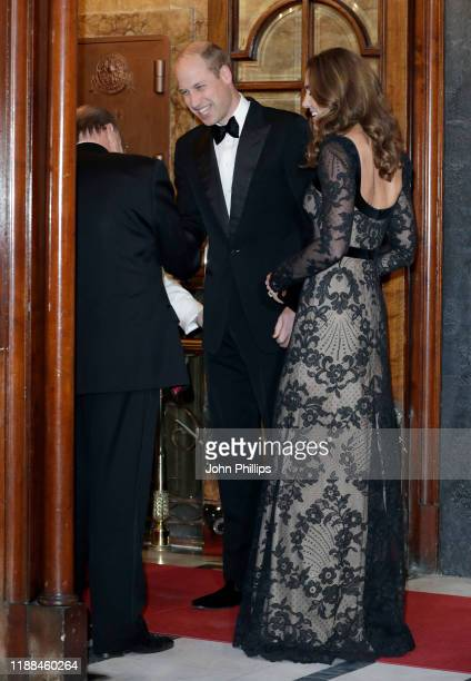 Prince William Duke of Cambridge and Catherine Duchess of Cambridge attend the Royal Variety Performance at the Palladium Theatre on November 18 2019...