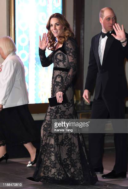 Prince William Duke of Cambridge and Catherine Duchess of Cambridge attend the Royal Variety Performance at the London Palladium on November 18 2019...