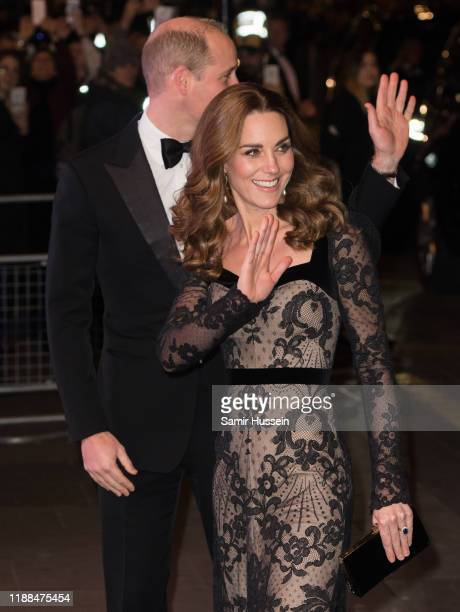 Prince William, Duke of Cambridge and Catherine, Duchess of Cambridge attend the Royal Variety Performance at Palladium Theatre on November 18, 2019...