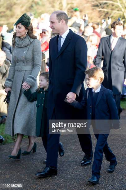Prince William Duke of Cambridge and Catherine Duchess of Cambridge with Prince George of Cambridge and Princess Charlotte of Cambridge attend the...