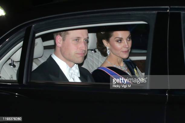 Prince William Duke of Cambridge and Catherine Duchess of Cambridge seen attending Diplomatic Corps reception at Buckingham Palace on December 11...