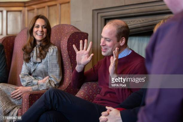 Prince William Duke of Cambridge and Catherine Duchess of Cambridge speak to young people and employers at Bradford Town Hall on January 15 2020 in...