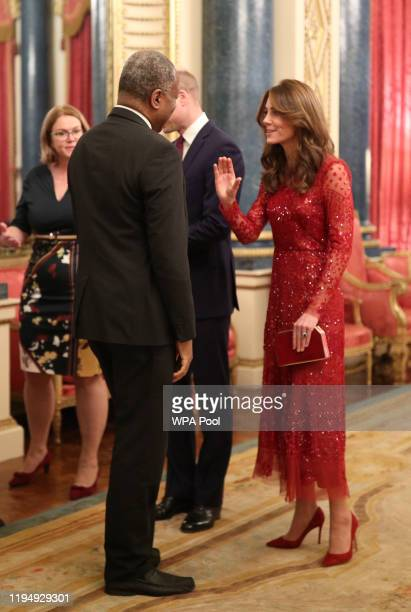 Prince William, Duke of Cambridge and Catherine, Duchess of Cambridge welcome guest to a reception to mark the UK-Africa Investment Summit at...
