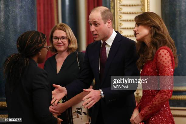 Prince William, Duke of Cambridge and Catherine, Duchess of Cambridge welcome guests to a reception to mark the UK-Africa Investment Summit at...
