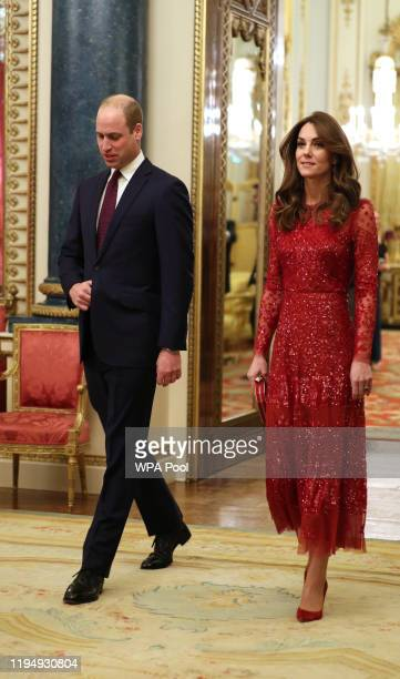 Prince William, Duke of Cambridge and Catherine, Duchess of Cambridge arrive at a reception to mark the UK-Africa Investment Summit at Buckingham...