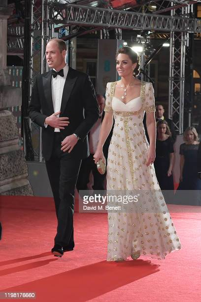 Prince William Duke of Cambridge and Catherine Duchess of Cambridge arrive at the EE British Academy Film Awards 2020 at Royal Albert Hall on...