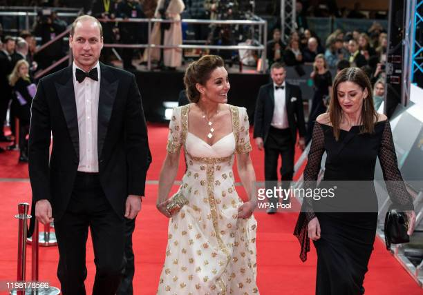 Prince William Duke of Cambridge and Catherine Duchess of Cambridge attend the EE British Academy Film Awards 2020 at Royal Albert Hall on February 2...