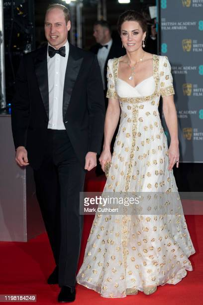 Prince William, Duke of Cambridge and Catherine, Duchess of Cambridge attend the EE British Academy Film Awards 2020 at Royal Albert Hall on February...